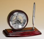 Piano-Finish Clock and Pen Set Desk Clocks