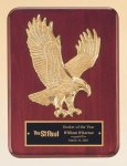 Rosewood Piano Finish Plaque with Gold Eagle Casting Patriotic and Eagle Awards