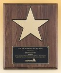 Walnut Stained Piano Finish Plaque with 8 Gold Star Patriotic and Eagle Awards