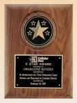 American Walnut Plaque with 5 Star Medallion Patriotic and Eagle Awards